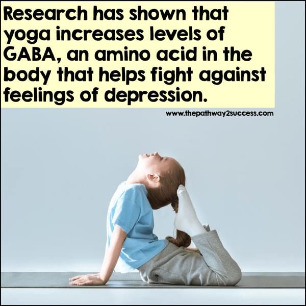Practicing yoga is a unique activity because it is exercise and mindfulness in one. Research has shown that yoga increases levels of GABA in our bodies. This  amino acid fights against feelings of depression while creating feelings of calm. There are many videos (like this Yoga for kids Youtube channel) to help you get started.