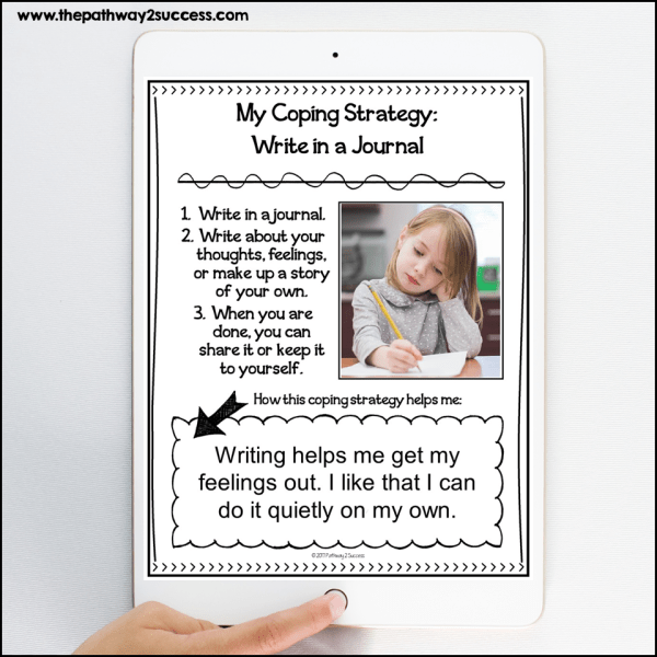Put together individualized notebooks with this free coping strategies notebook activity. Just list in favorite coping skills, write step-by-step directions, and add a picture. This is a tool kids and teens can come back to again and again.
