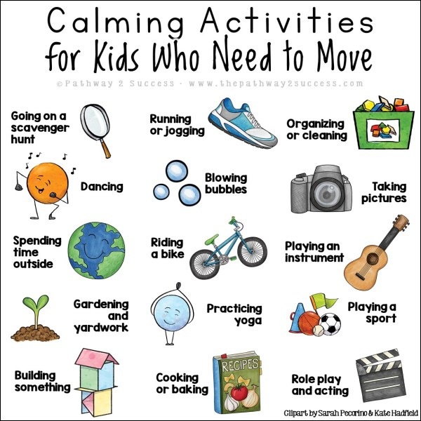Calming activities for kids and teens who need to move! Use these techniques to work on self-regulation for kids of all ages.