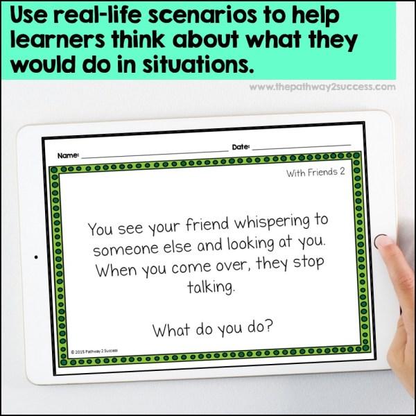 Social scenario problem-solving cards