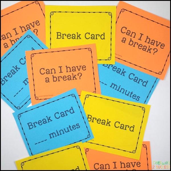 Free printable break cards