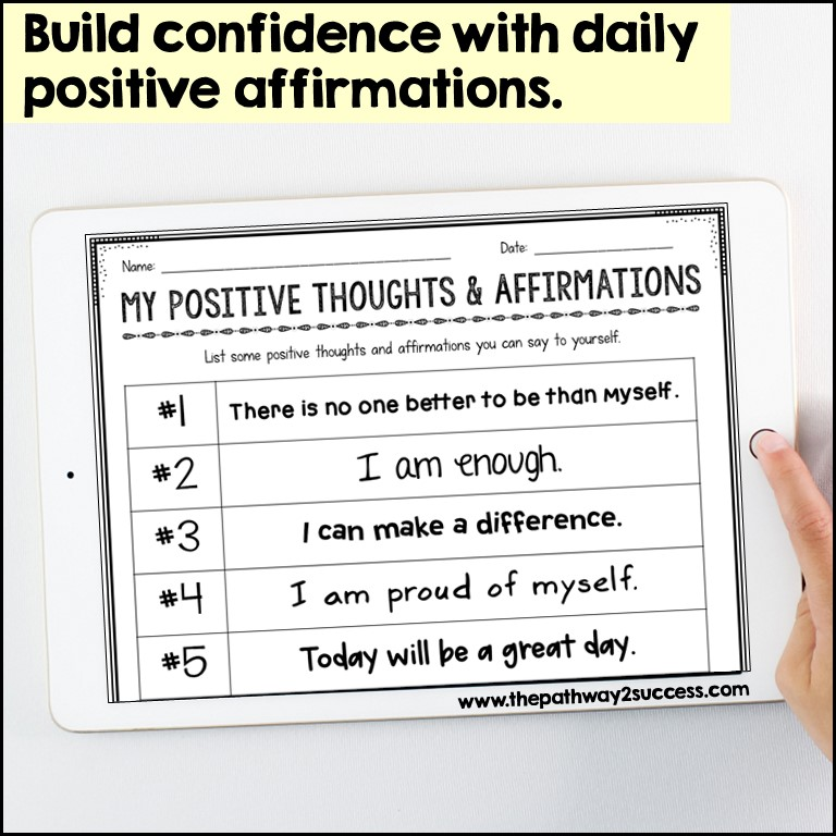 Positive affirmation activity to build confidence.