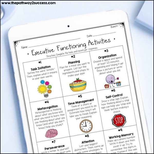 Executive Functioning Choice Boards
