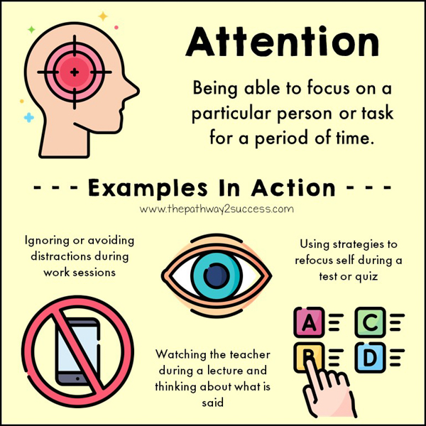 Attention is being able to focus on a task or person for a period of time. Besides just focusing, attention skills also include how to refocus when attention is waning, ignore distractions, and fine-tune the level of focus necessary for a task.