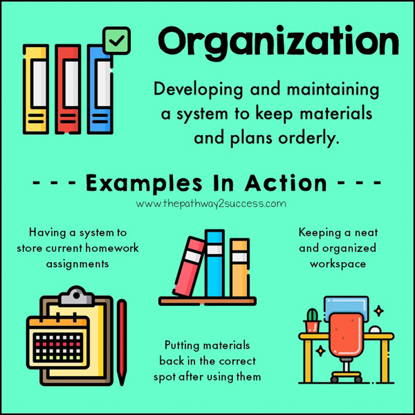 Organization is developing and maintaining a system to keep track of materials and plans. Staying organized is a huge support because it helps us know where our materials are when we need them. This also reduces stress and helps us think clearly.