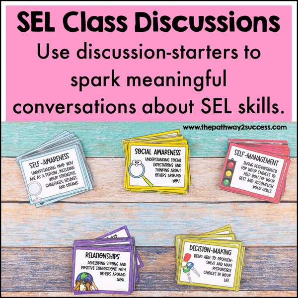 SEL class discussion task cards to integrate social emotional learning skills for students.