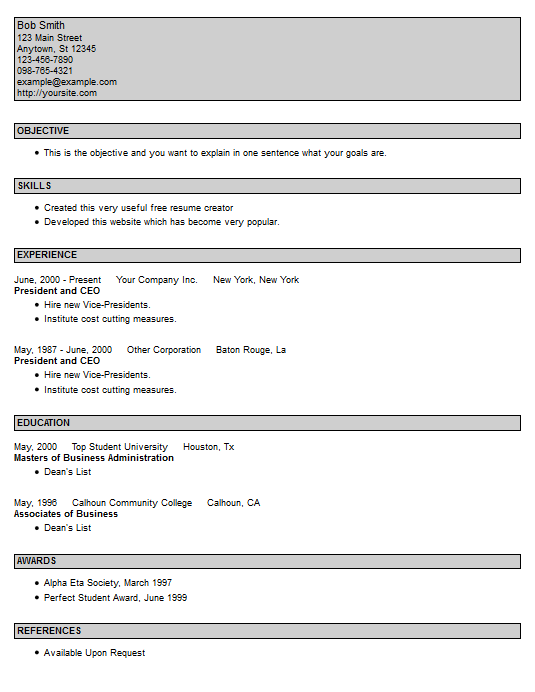resume style resume template