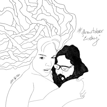 Pencil sketch a man and woman in a passionate embrace. His head is on her shoulder, and her hair spills around them both.