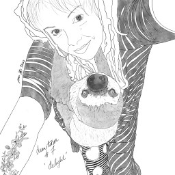 Pencil sketch of a woman (the artist) hugging a sloth.