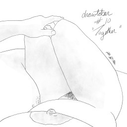 Pencil sketch of a nude woman's torso and legs, cuddled against her nude male lover's belly and legs. His arm is on her bent knees.