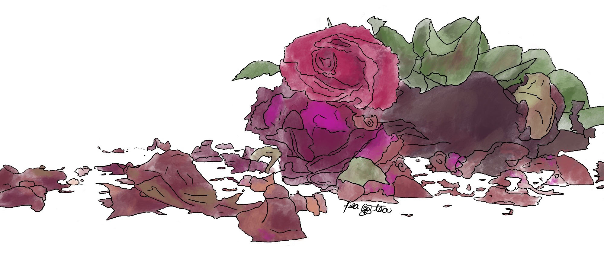 Watercolor painting of red roses, drying and dying. Petals are scattered around on the ground.