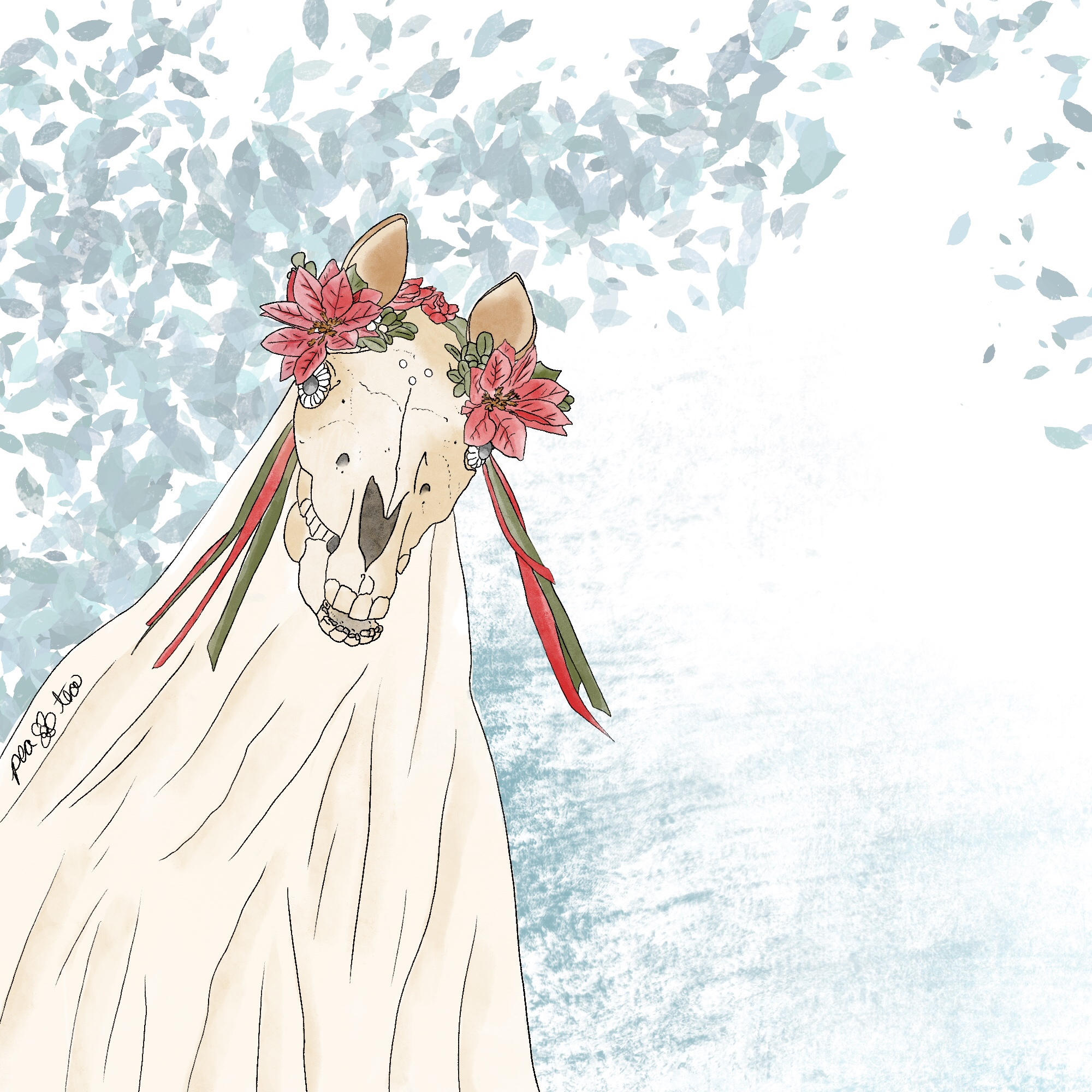 Colored pencil sketch of Mari Lwyd, the welsh horse skull christmas tradition. The skull has poinsettia flowers and ribbons on her head, and little blue leaves are swirling in the background.