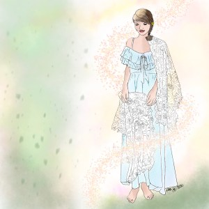 Colored pencil sketch of a woman in a blue ruffled dress with a fancy lace shawl held in her hands, and over one shoulder.