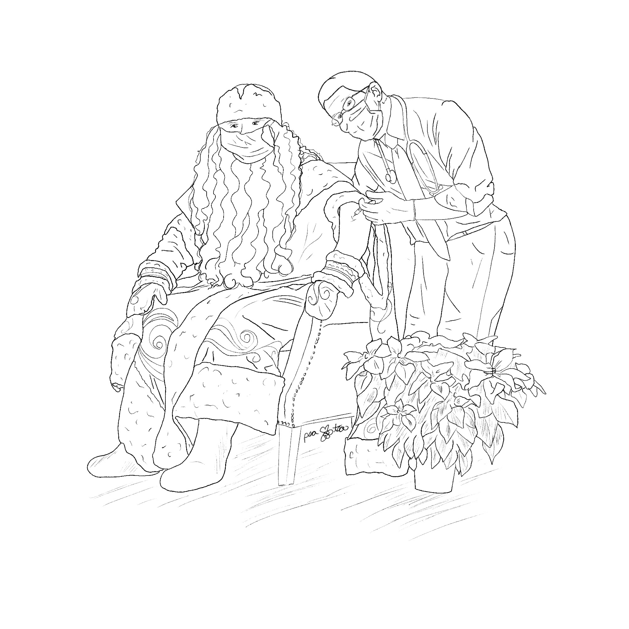 Pencil sketch Dr. Anthony Facui giving a victorian style Santa Claus the Covid-19 vaccine.