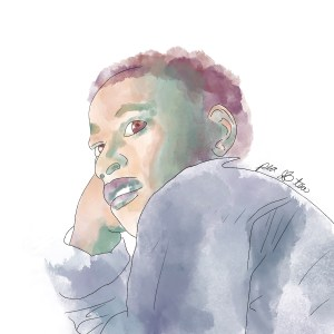 Watercolor painting of Emmet Till rendered in blues, greens, and browns.
