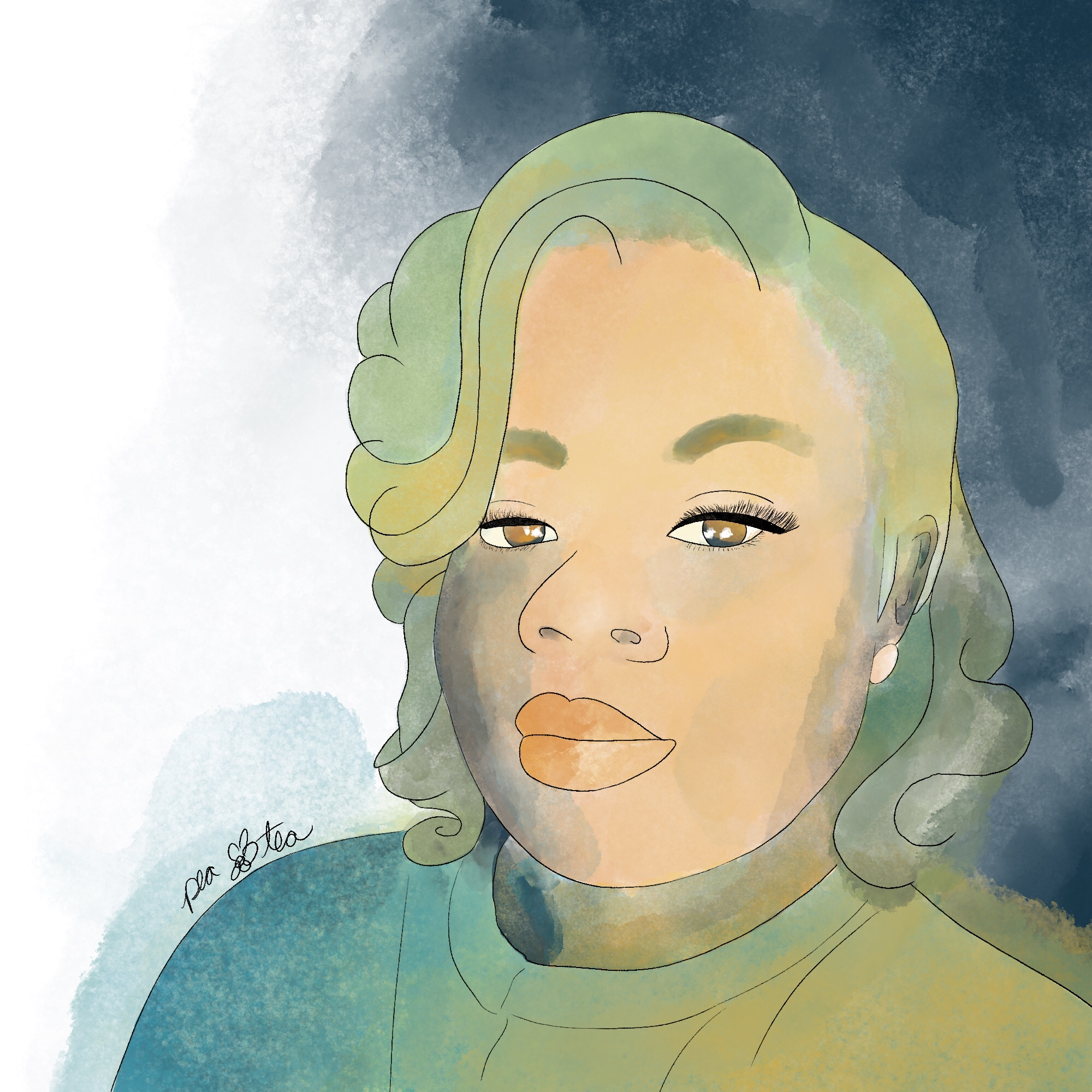 Watercolor painting of Breonna Taylor rendered in teals, greens, and browns.