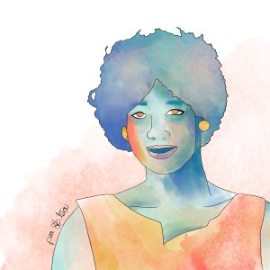 Watercolor painting of Eula Mae Love rendered in oranges, pinks, and teals.