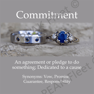 Commitment: An agreement or pledge to do something; Dedicated to a cause.