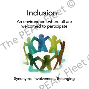 Inclusion: An environment where all are welcomed to participate.