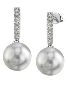Freshwater Pearl Dangling Diamond Earrings