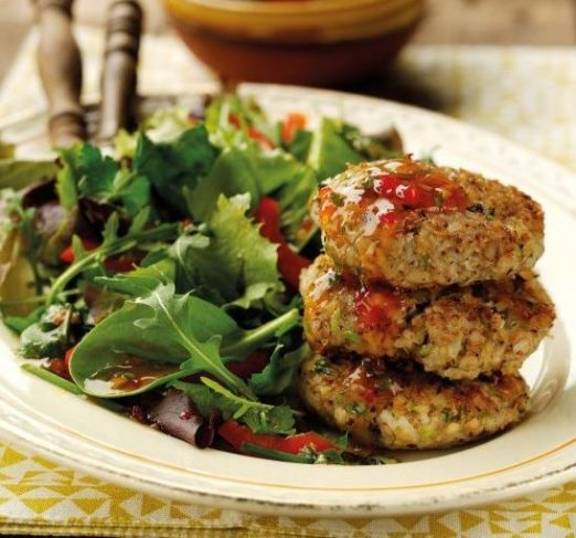 Brazilian Bean and Prawn Fritters with Herb Salad