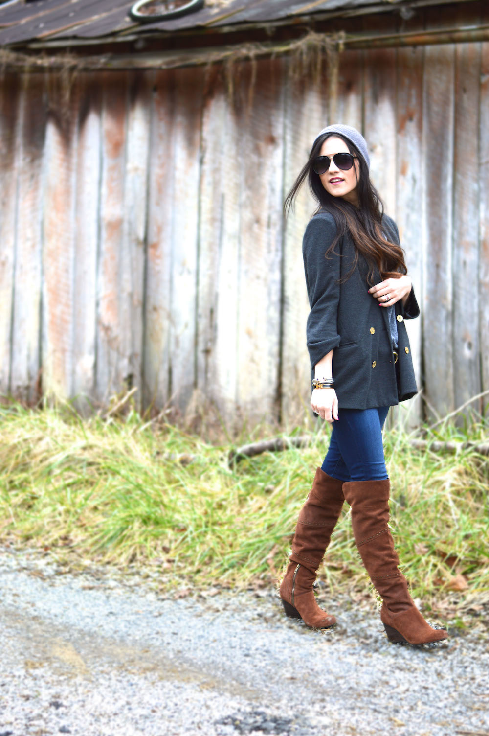 blazer and over the knee boots