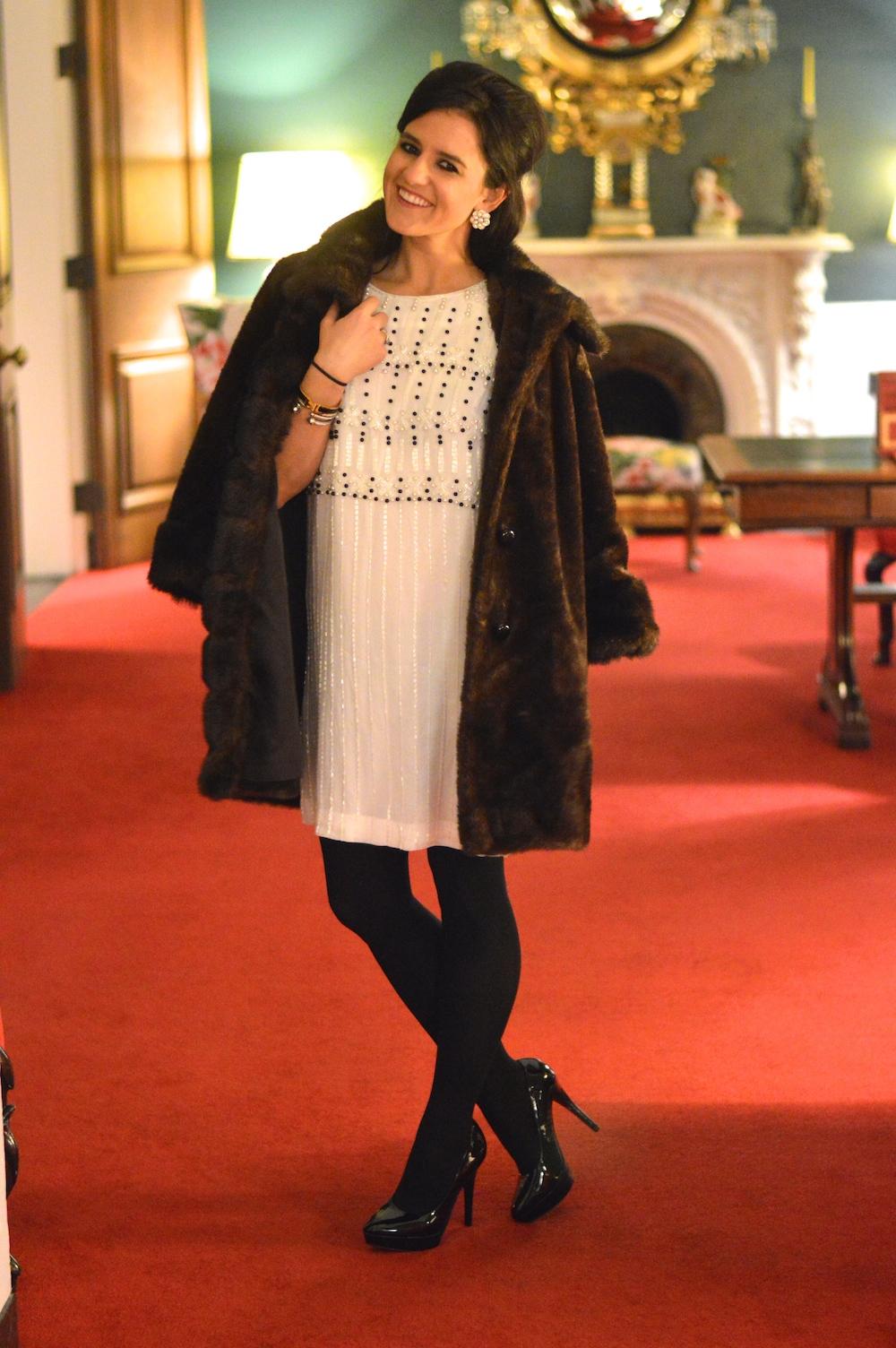 Fur Coat over White Dress