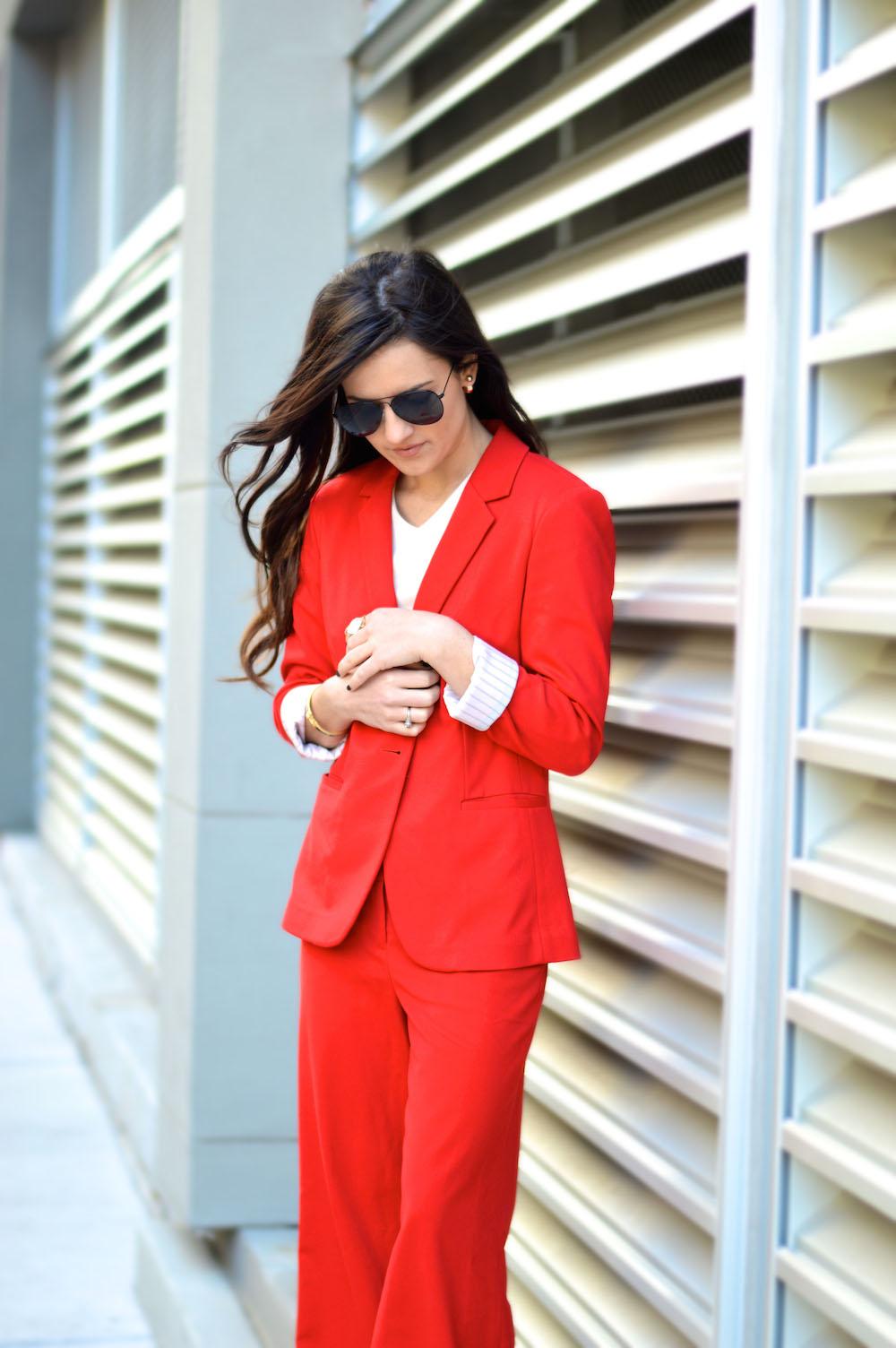 wide leg red pant suit
