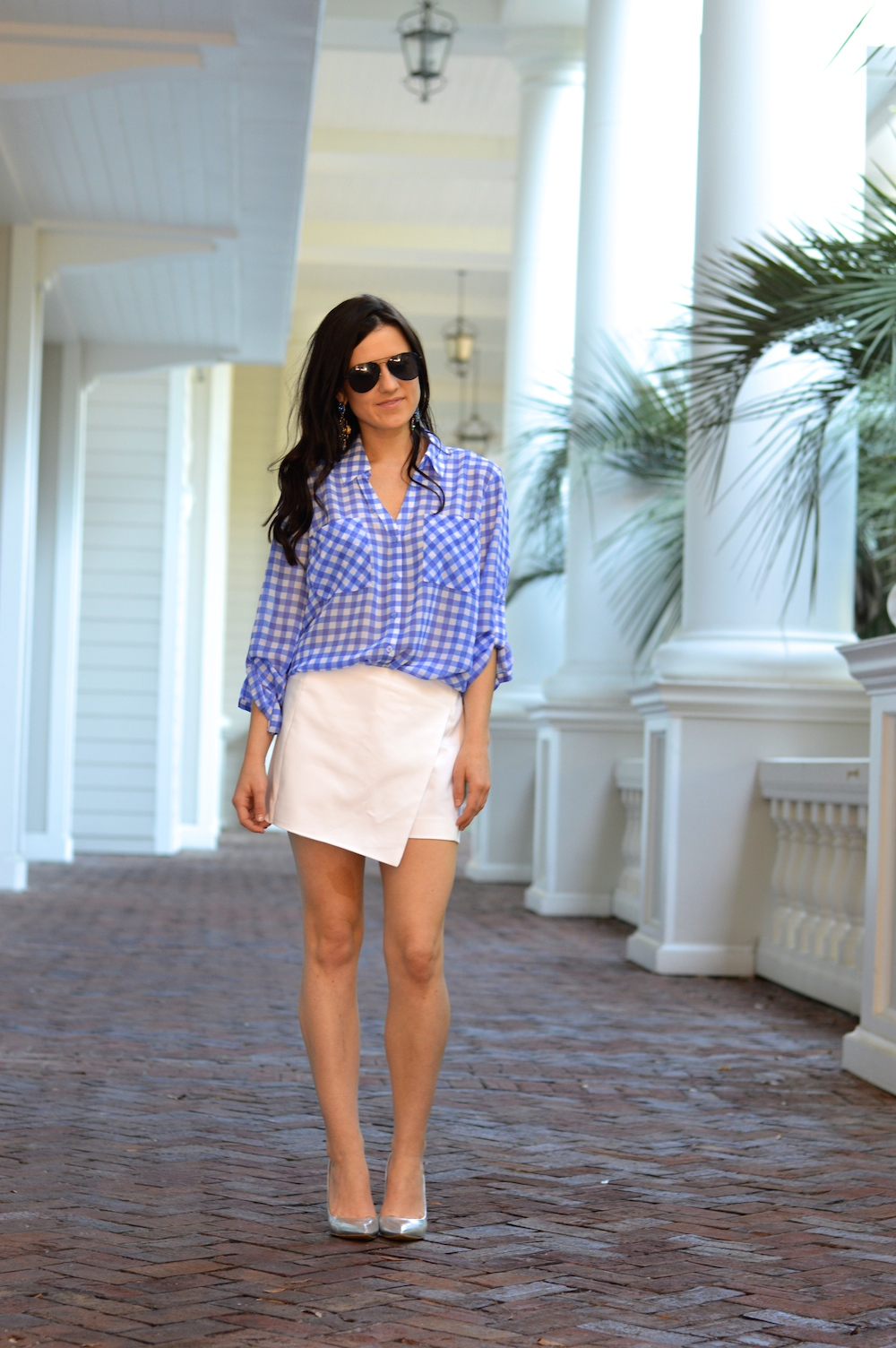 white asymmetrical skort