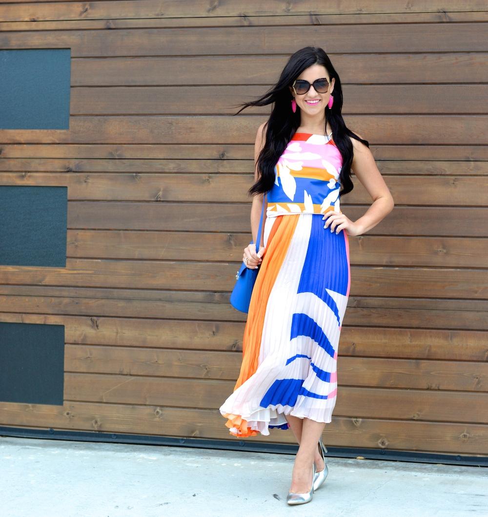 Elle Sasson Pleated Skirt Printed Top