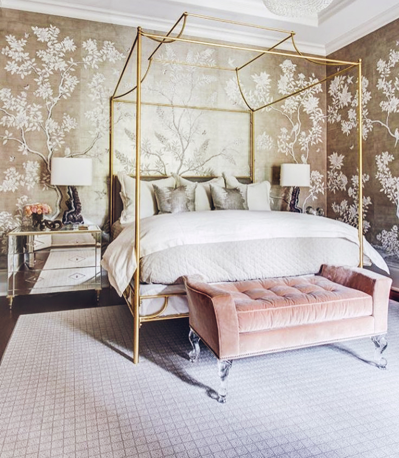 Etonnant Blush Pink And Gold Bedroom