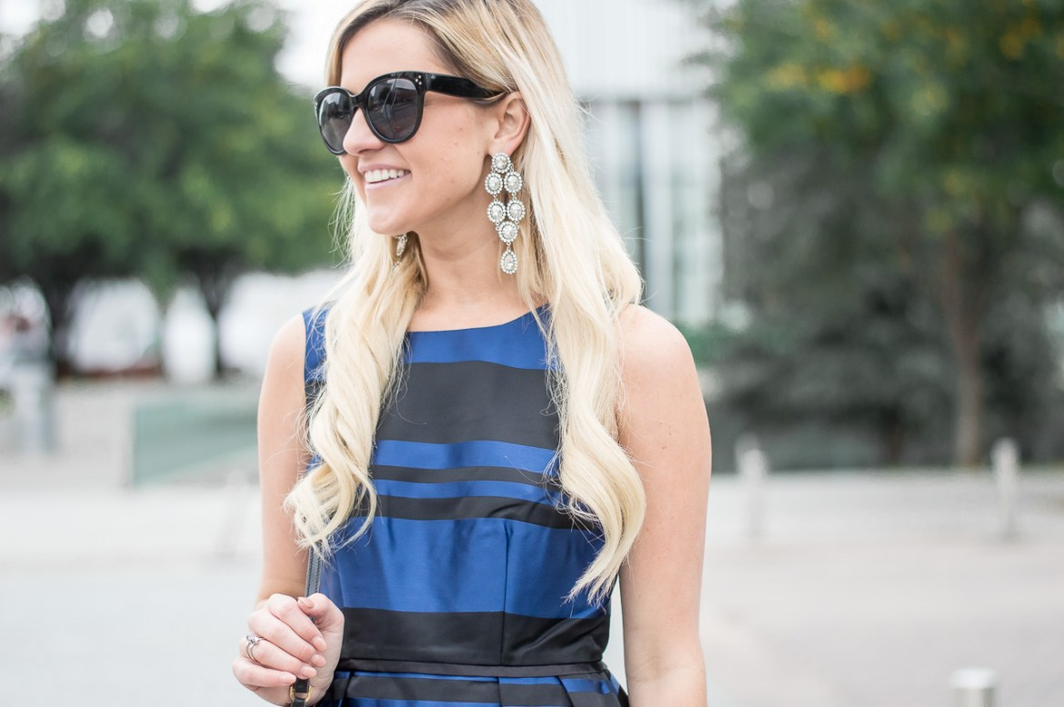 black-and-blue-striped-dress