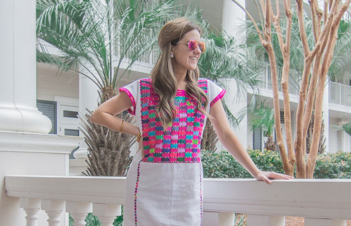 Pink Mexican Embroidered Dress