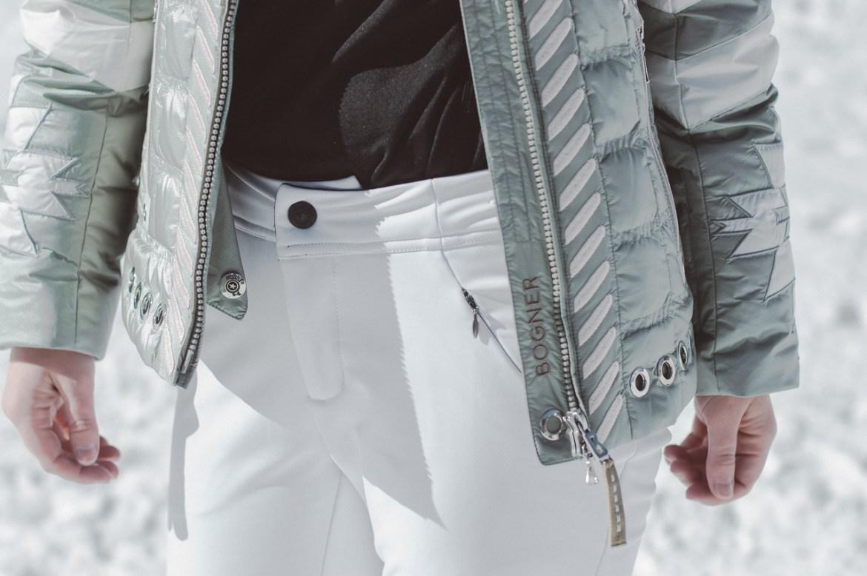 white tight ski pants