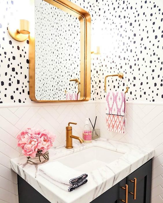 dalmatian wallpaper bathroom pink