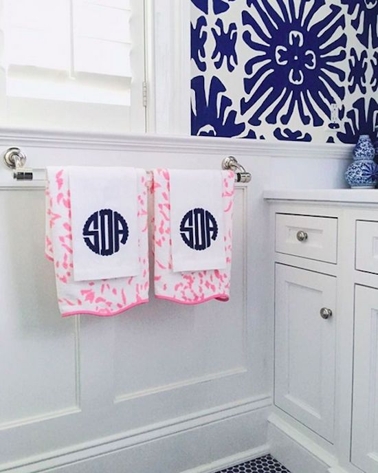 monogram towels blue bathroom pink