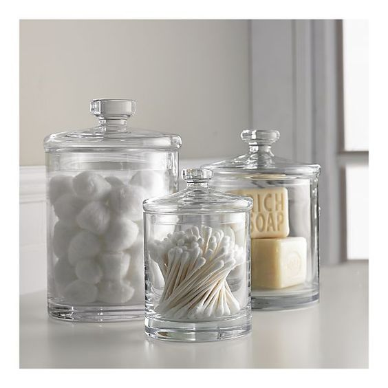 apothecary jars bathroom cotton balls