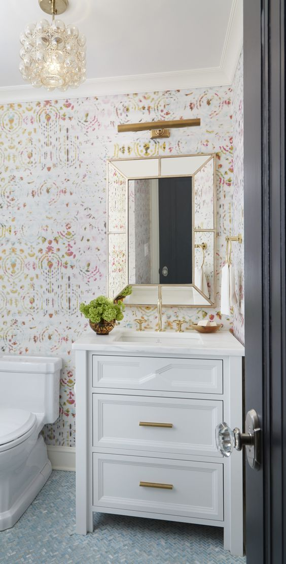 floral wallpaper guest bathroom