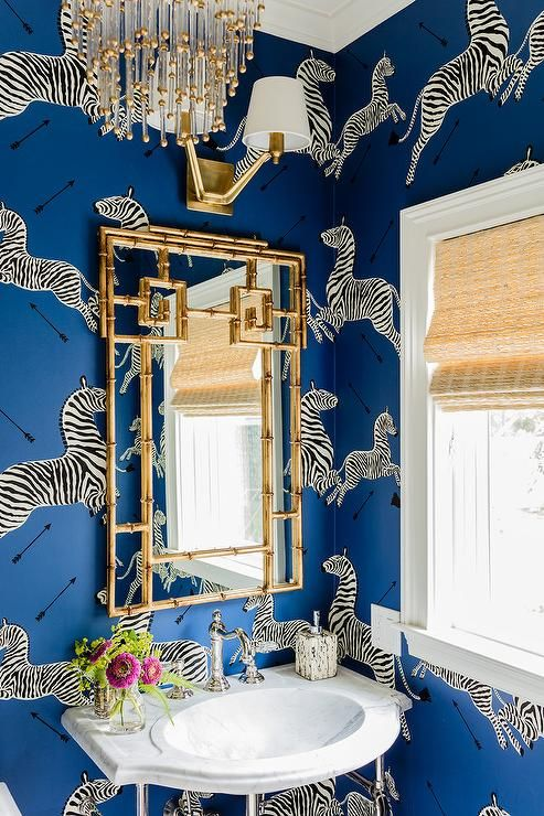 zebra wallpaper guest bathroom