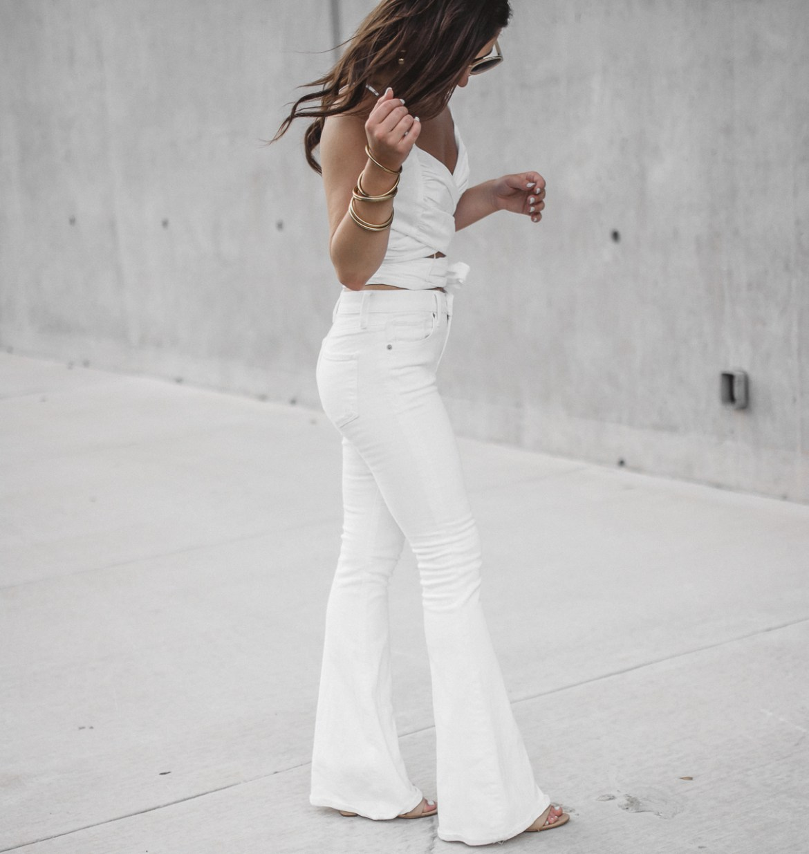 White Crop Top White Flared Jeans (22 of 23)