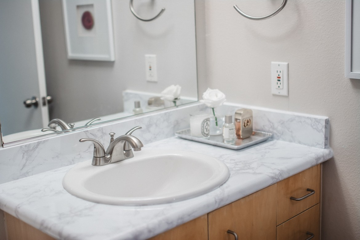 Marble Contact Paper Bathroom After