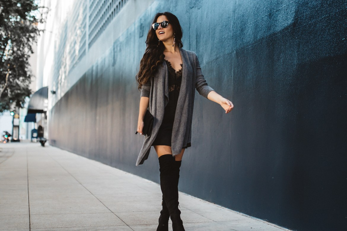 Lingerie Slip Dress With Sweater-7