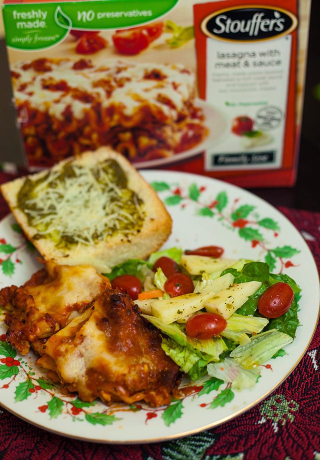 Stouffers Lasagna & Pesto Garlic Bread with Tomato Mozzarella Salad Recipe