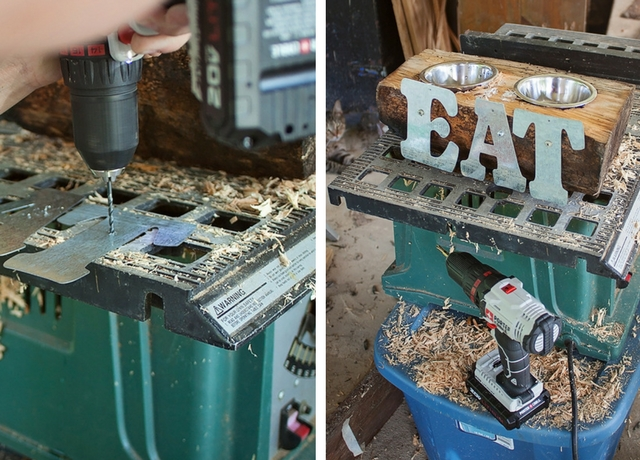 Upcycled Log Cat Feeder DIY