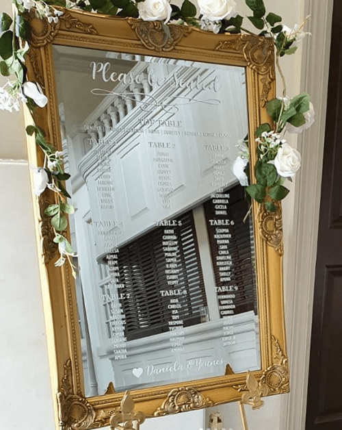 gold mirror table plan