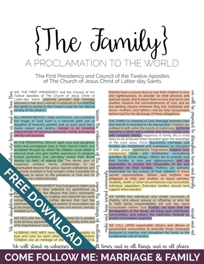 graphic about The Family a Proclamation to the World Free Printable named The Loved ones: A Proclamation towards the World-wide with the Younger