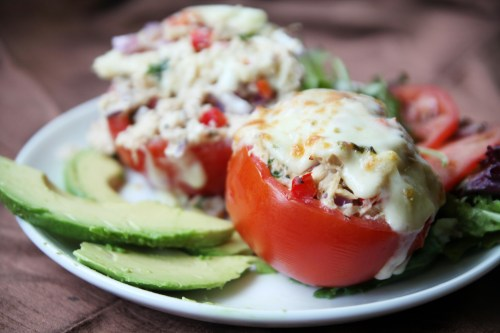 Healthy Breadless Tuna Melt in a Tomato