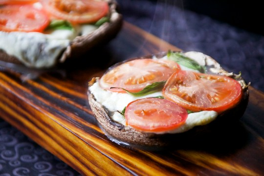 Healthy Breadless Margherita Pizza on a Portobello