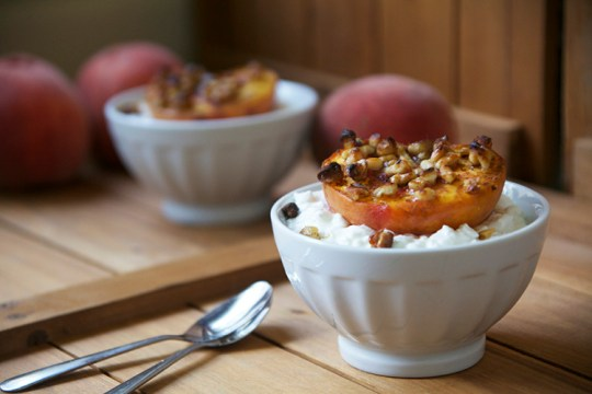 Honey Walnut Broiled Peaches with Cottage Cheese