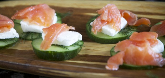 smoked salmon, cucumber, cream cheese, dill, pescetarian, appetizer, healthy